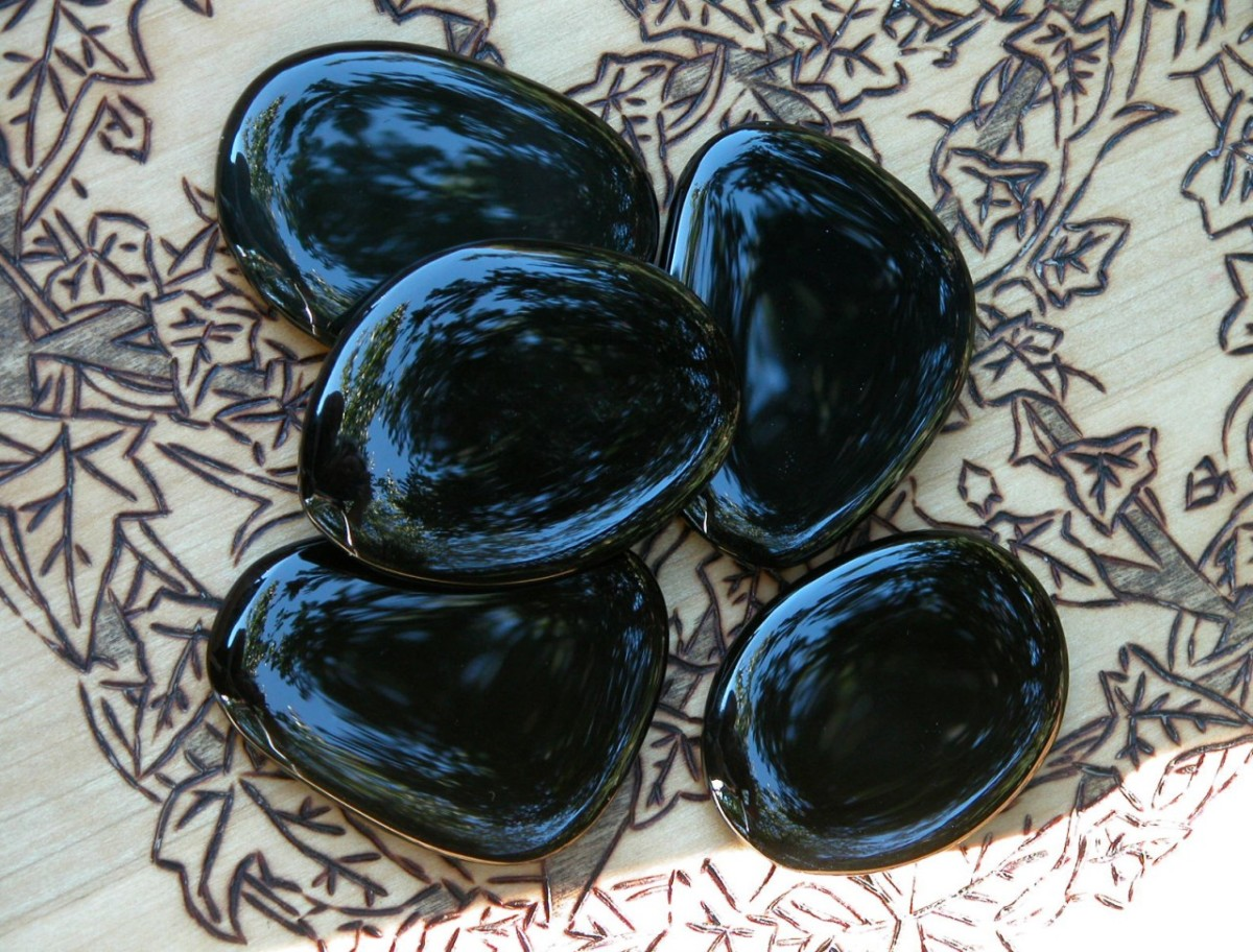 Beautiful large Black Onyx scrying palm stones