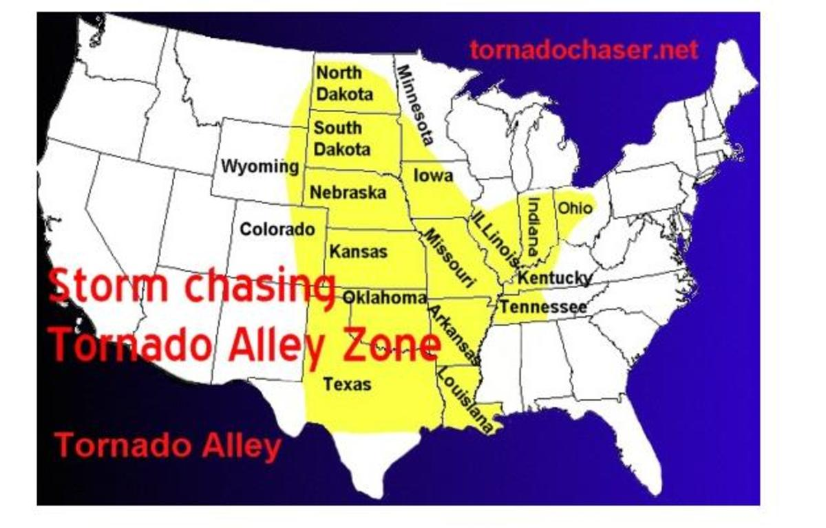 These states make up Tornado Alley, where the majority of tornadoes occur in the US.