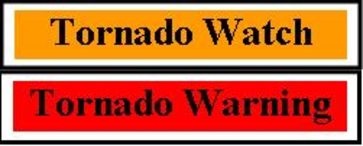 Tornado Whatches and Warning are designed to alert the public to the potentioal for stroms that may give rise to tornados