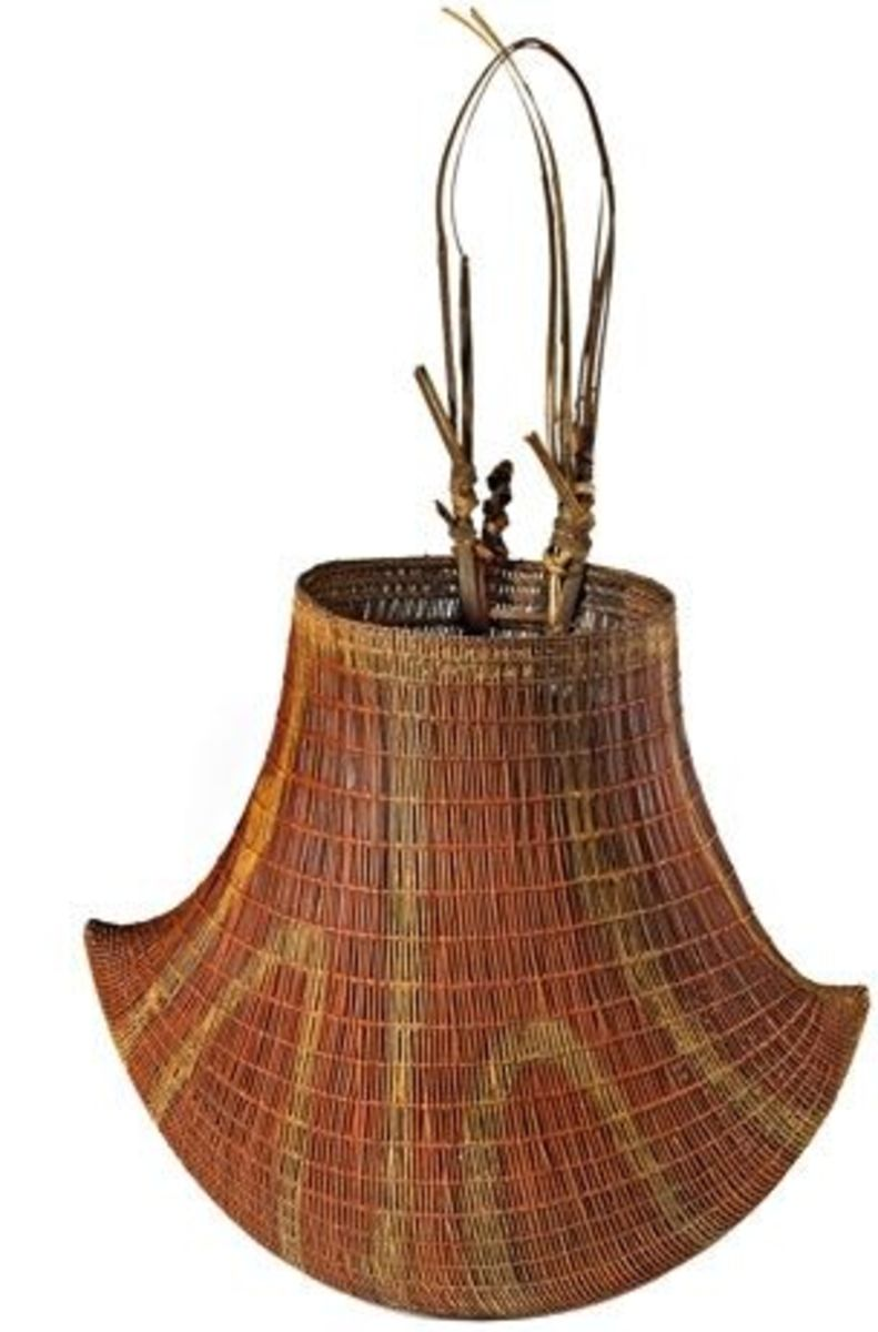 Bicornial basket of woven cane, from Queensland, early 1900s