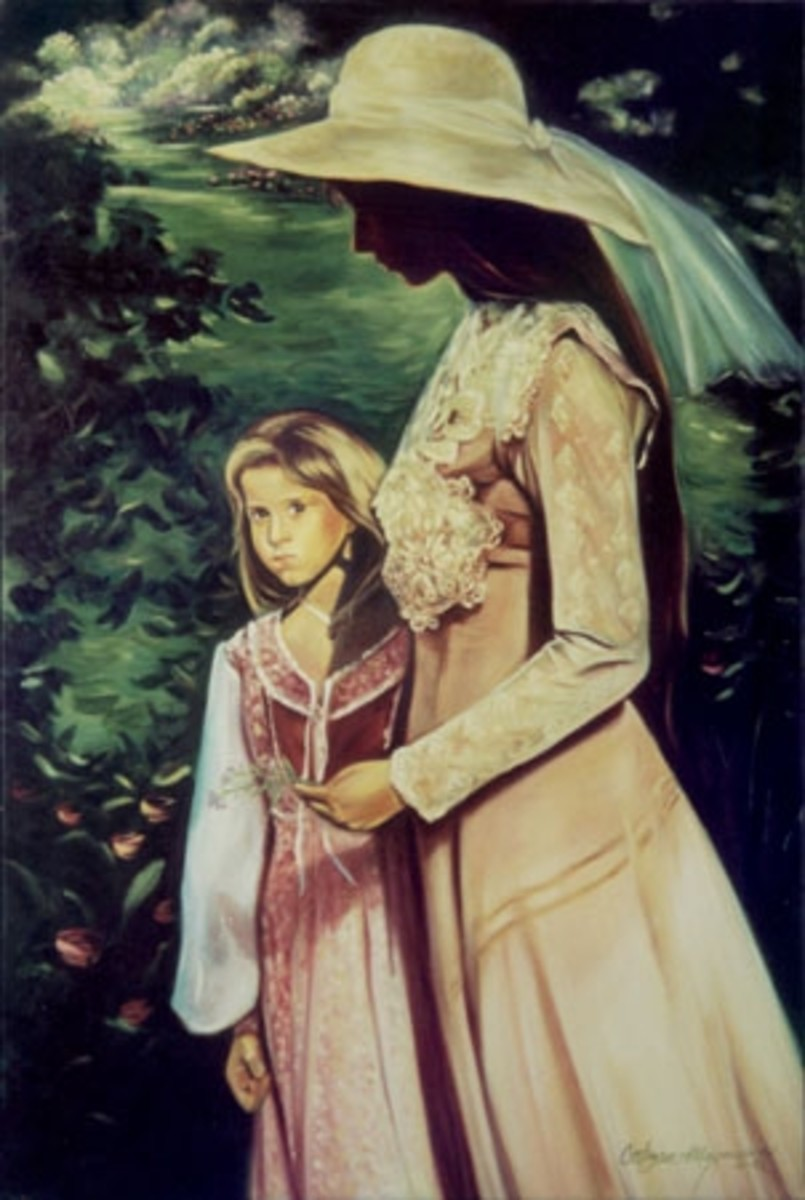 """""""Mother and Daughter"""" 24x40 oil on canvas by Kathy Ostman-Magnusen"""