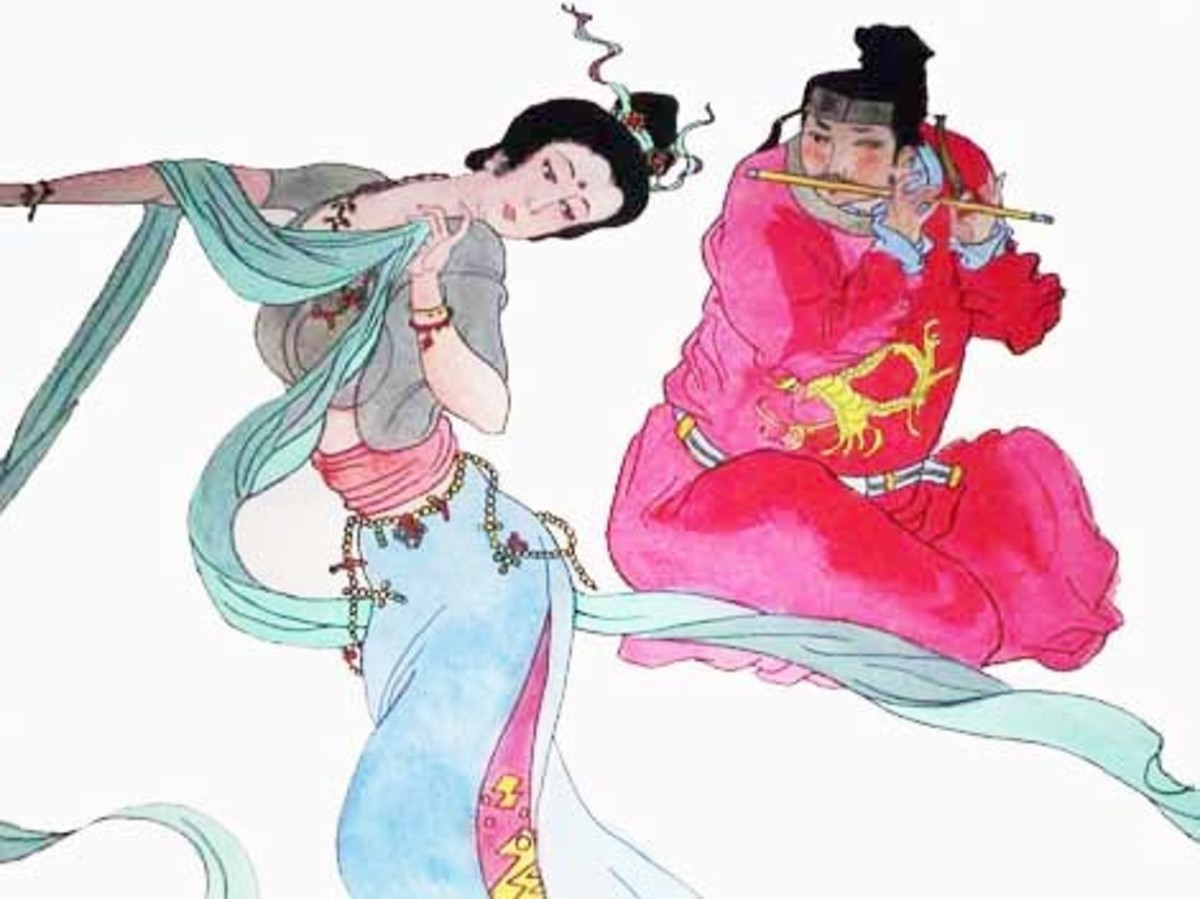 Emperor Xuanzong playing the flute for Yang Guifei