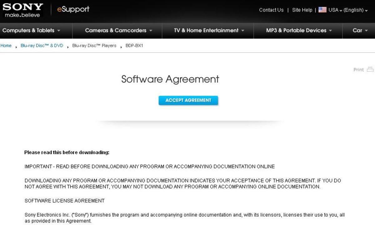 You have to accept Sony's agreement before you can download the firmware files.