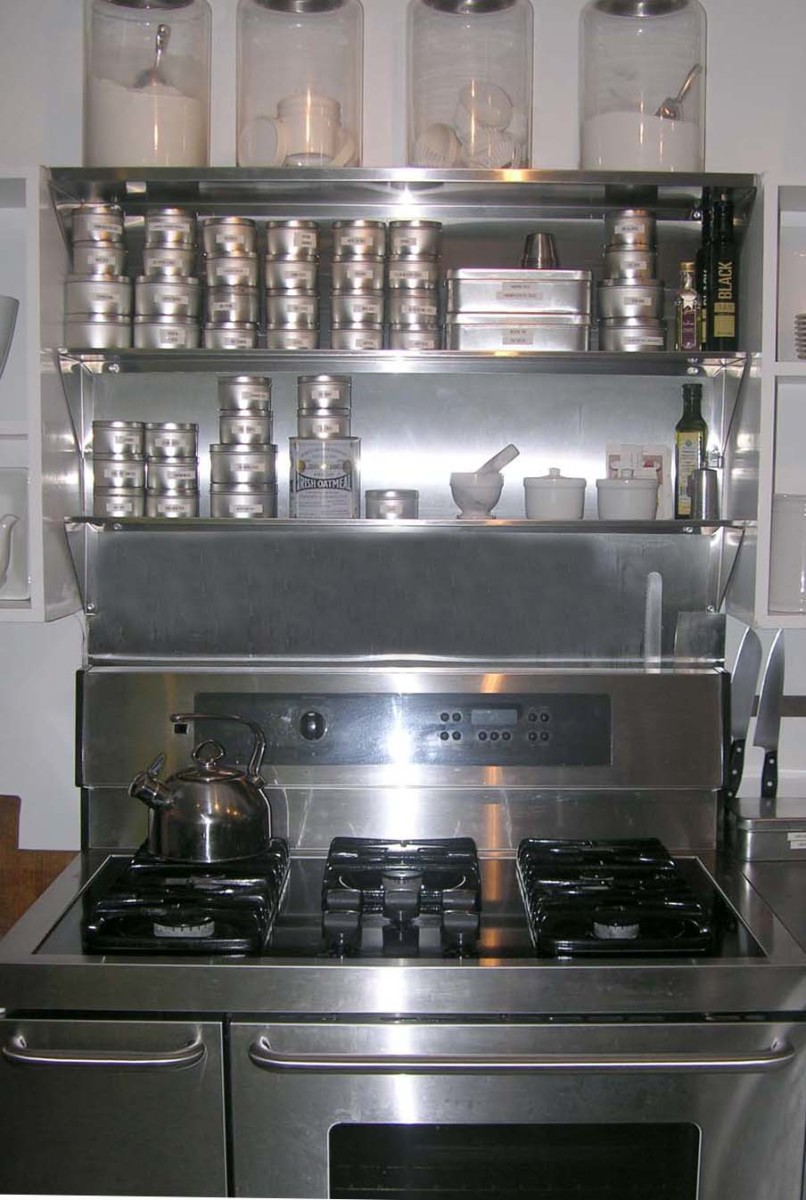 using over the range stainless steel shelves to store your. Black Bedroom Furniture Sets. Home Design Ideas