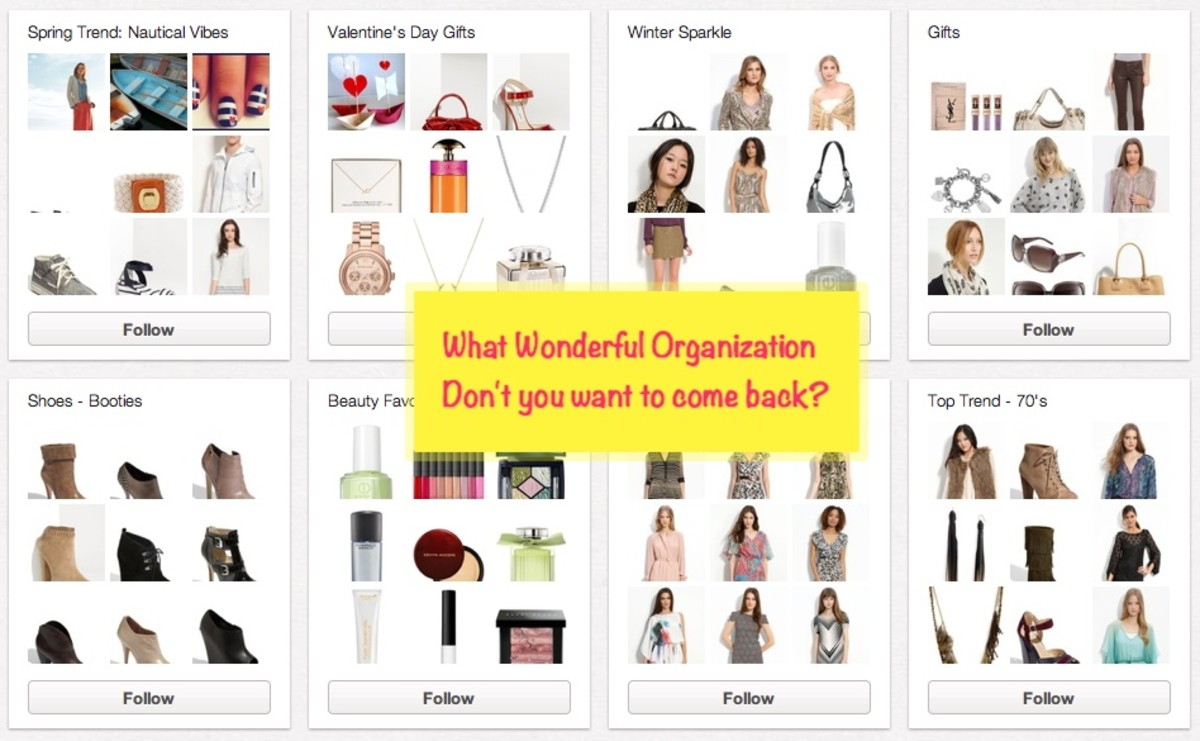 Look at the Elegant Organization from Nordstrom!  You bet that their viewers will check  back often to see what new ideas they will showcase!