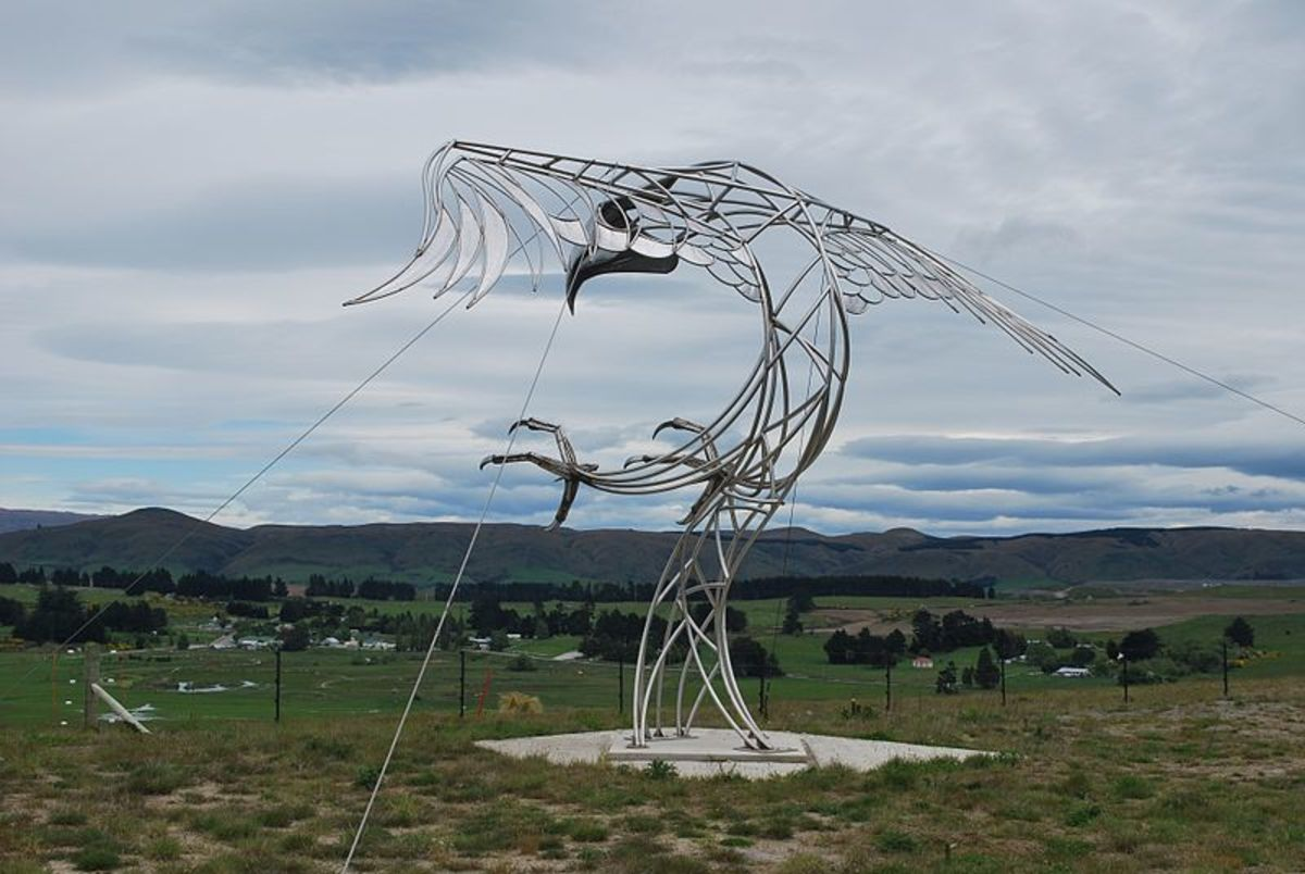 A sculpture of the giant eagle erected on the Macraes Mine site near Macraes Flat, New Zealand