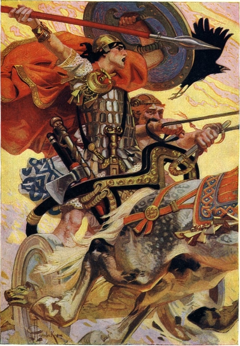 Cu Chulainn riding his chariot into battle.