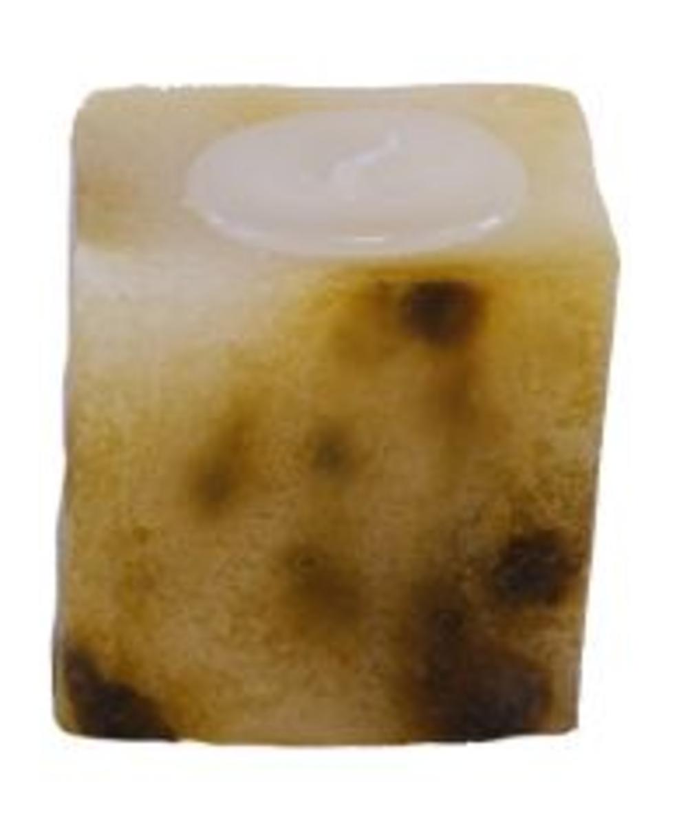 Candle made using  juice carton as a mold