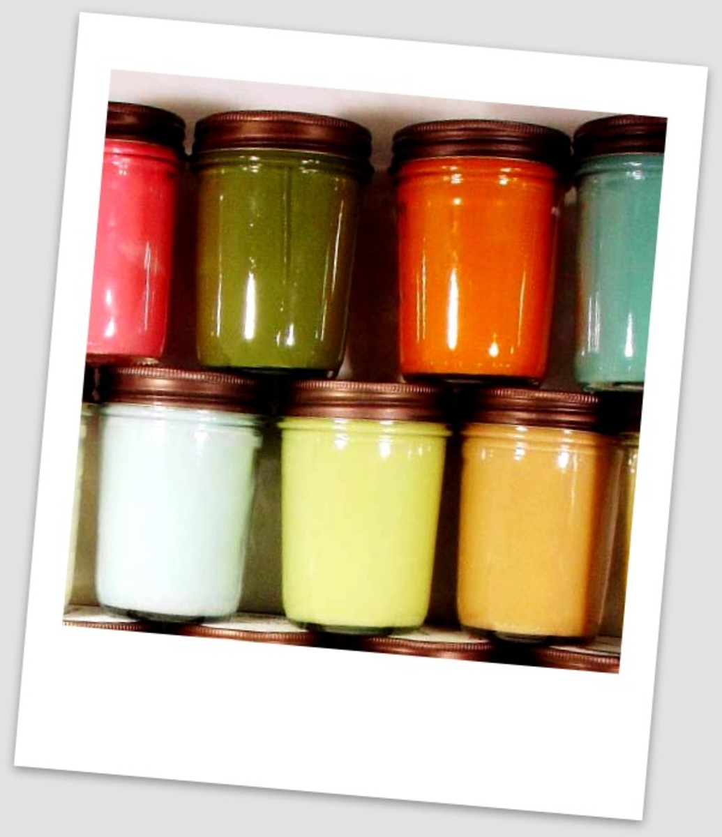 Homemade candles in jars