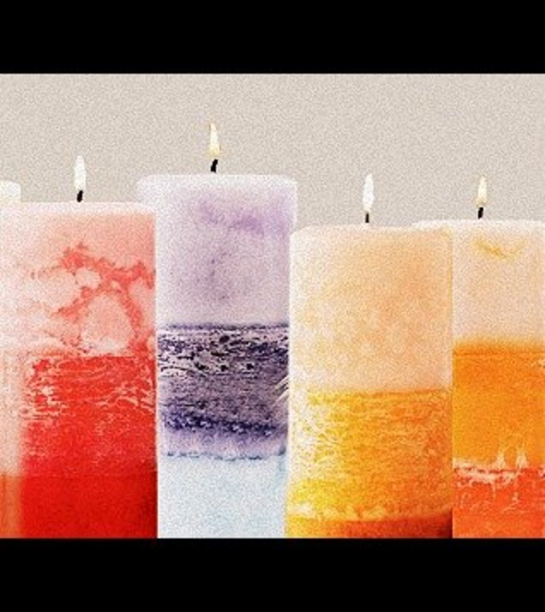 Candles made from wax poured into recycled chip containers