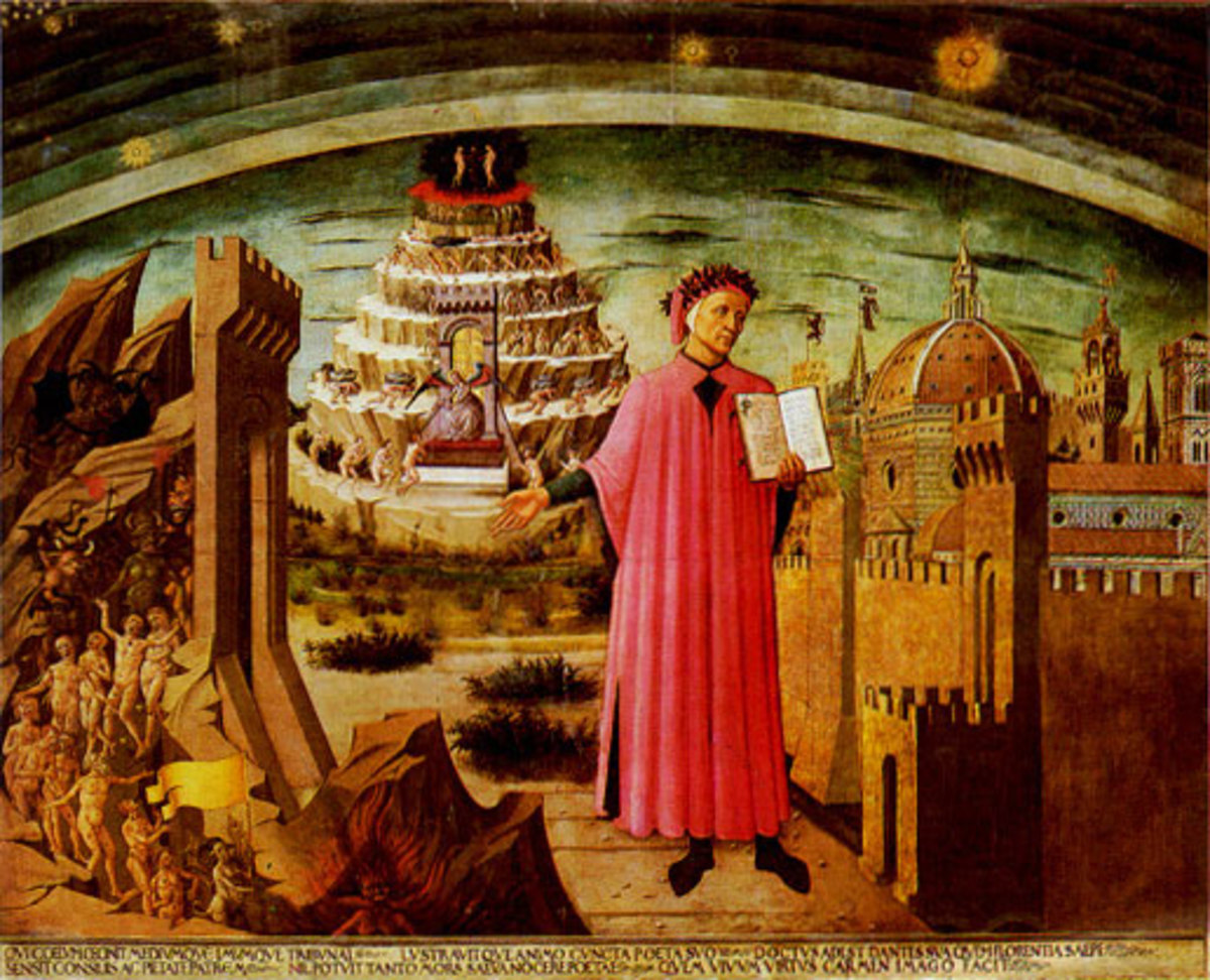 Dante, standing in front of hell, purgatory, and heaven.