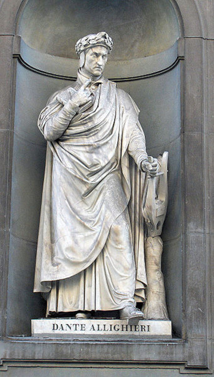 Statue of Dante at the Uffizi Gallery in Florence, Italy.