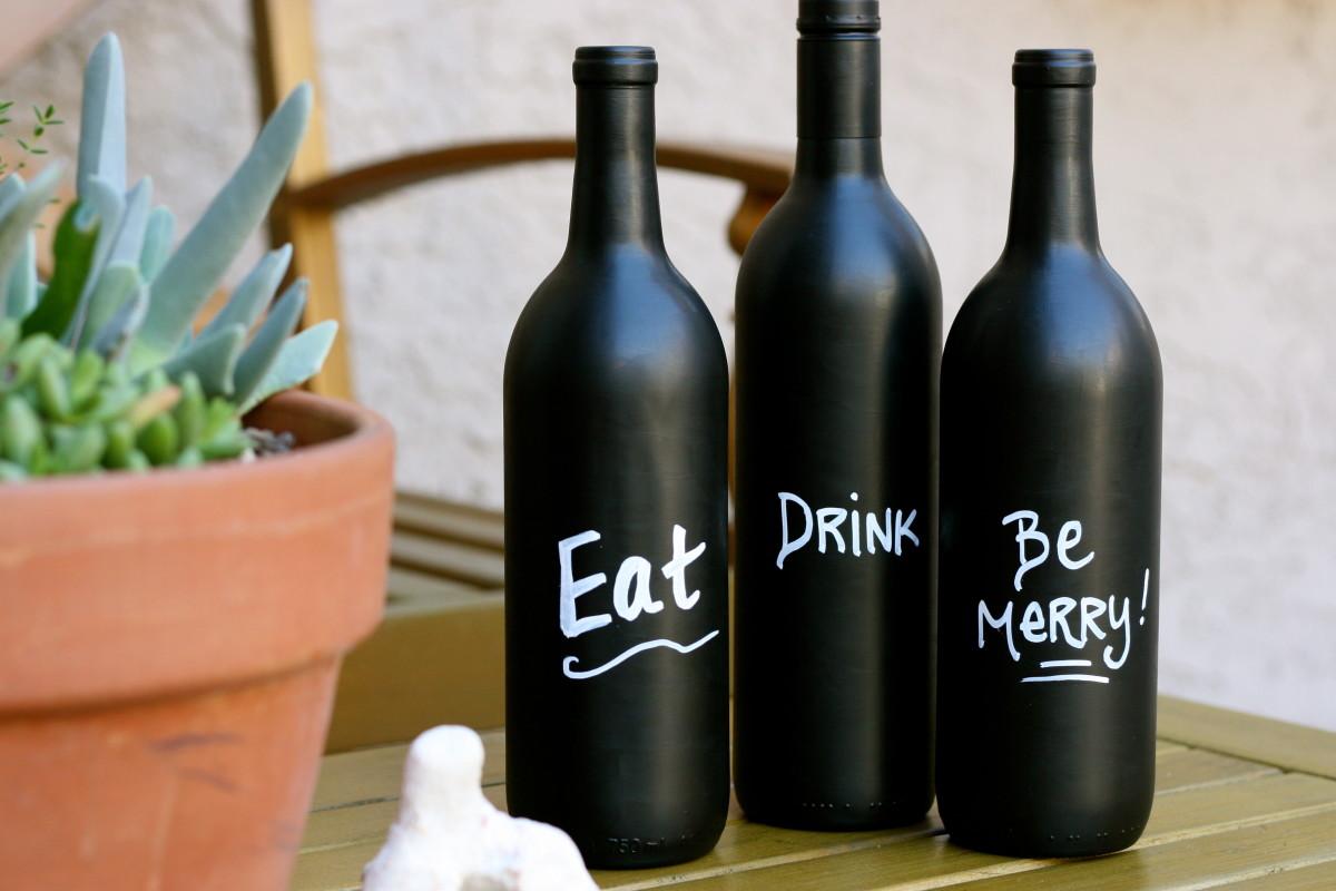 Chalkboard Paint Wine Bottles