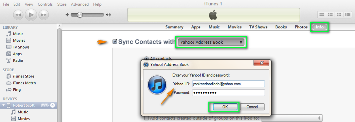 Sync iPhone Contacts with Yahoo