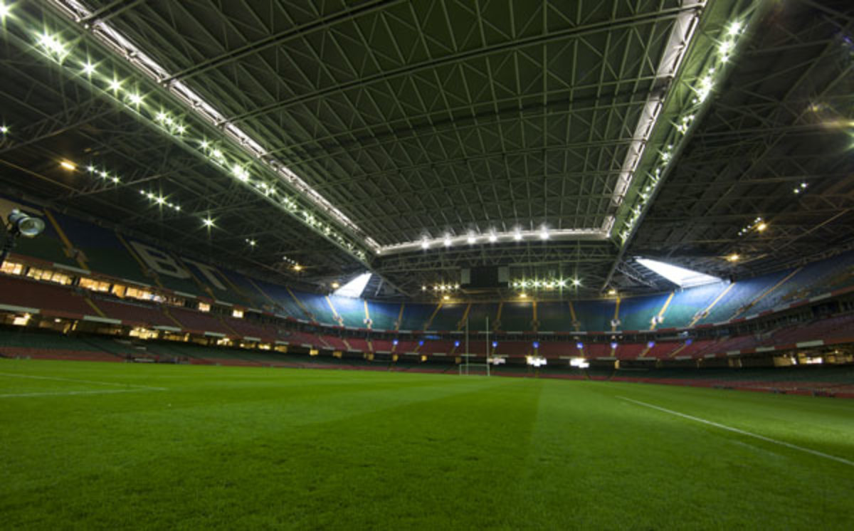 Home of the Welsh National Rugby Side: the 74,500 seater Millennium Stadium. A modern rugby venue with retractable roof and removable pitch system. With a full stadium and closed roof this is a very intimidating venue