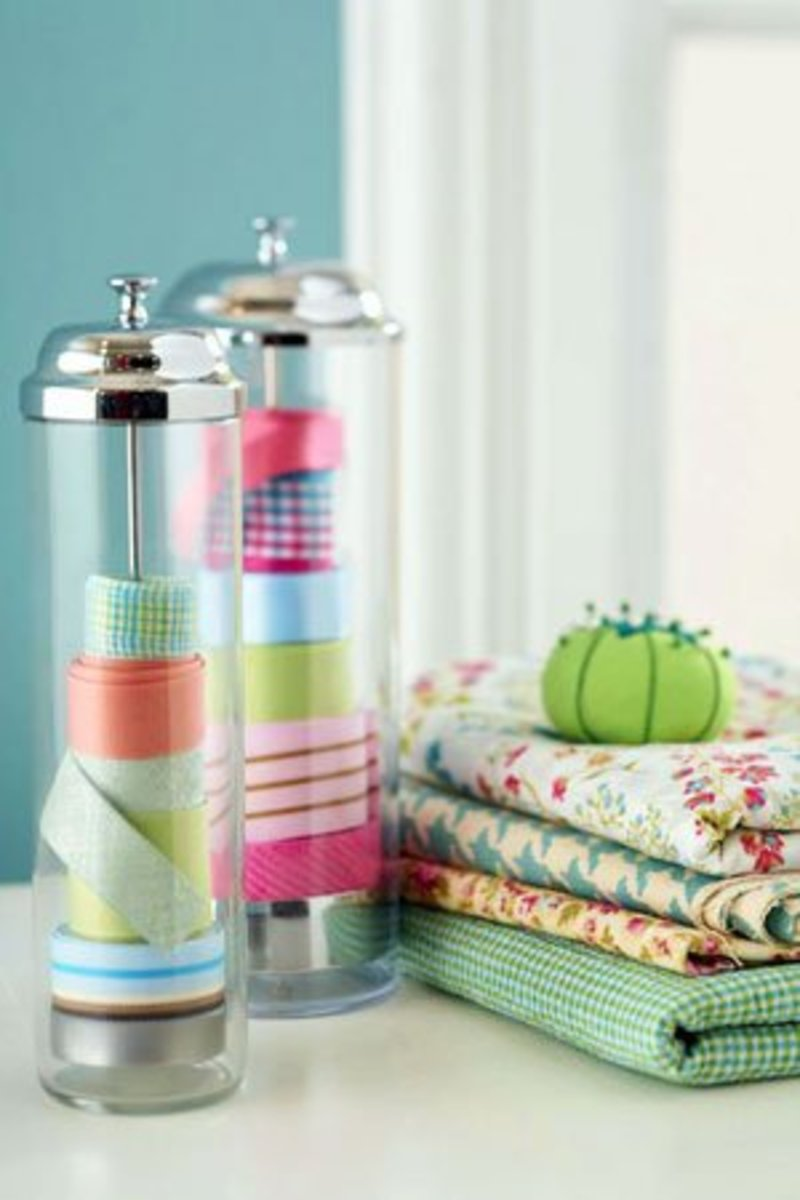 Store small ribbon collections in soda straw dispensers.