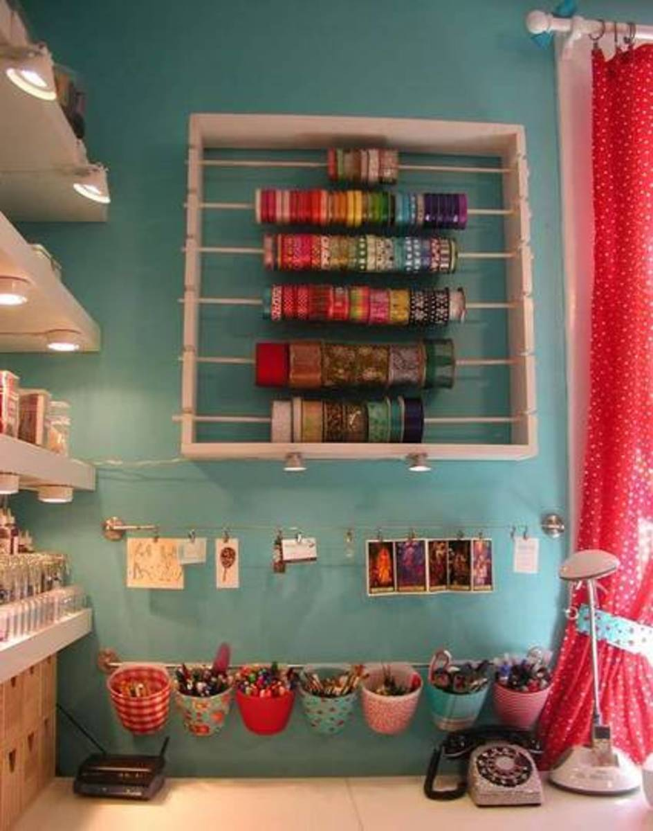 Ribbon storage solutions craft ideas for boxes for Craft wall storage system