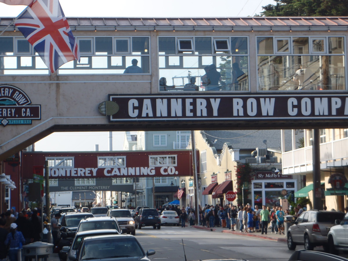 View of Cannery Row's famous overpasses.