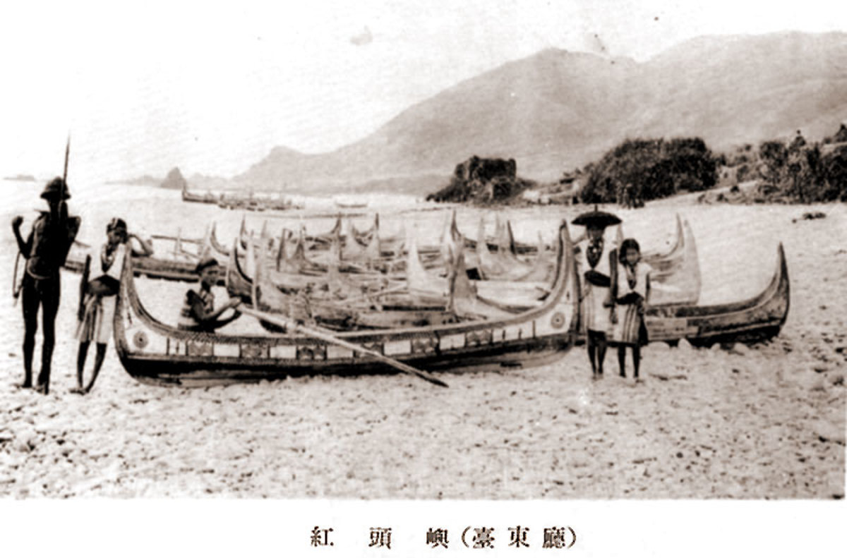 Boats and Tao on the shore of Orchid Island near Taiwan in 1931.