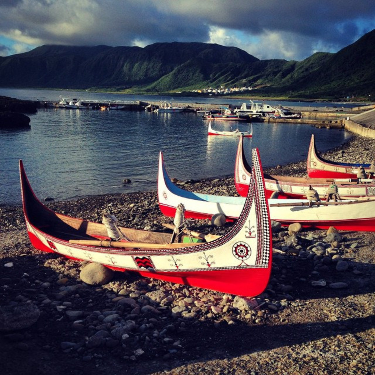 Traditional fishing boats for gathering flying fish.