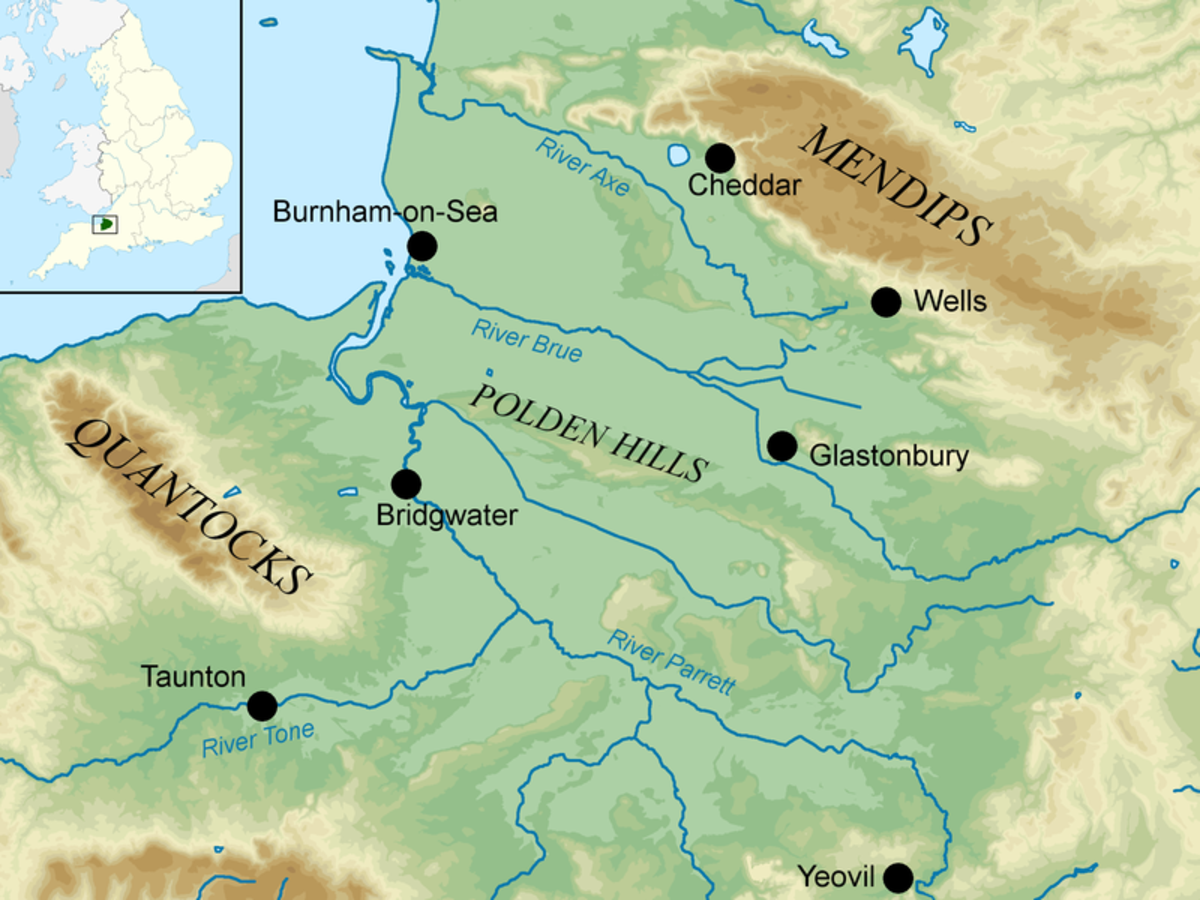 Aethelney in the Somerset Levels near Glastonbury, where Aelfred hid from the Danes before victory over Guthrum at Edington