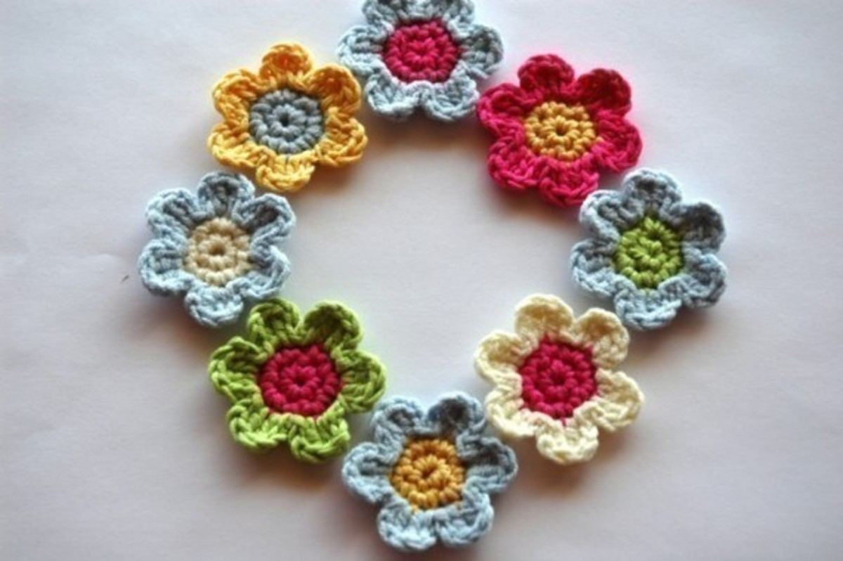 Crochet applique flowers.