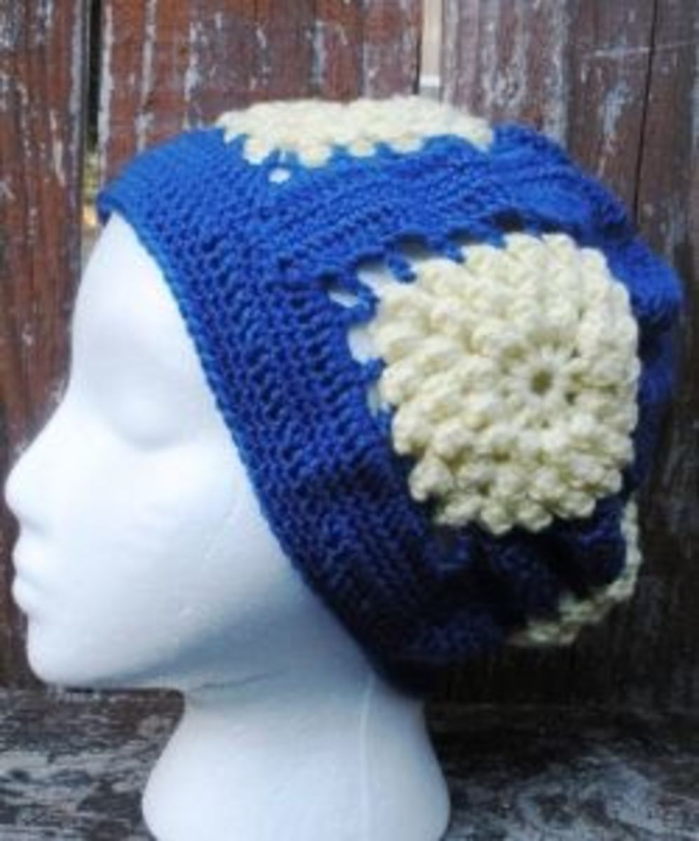 Crocheted Popcorn Stitch Granny Square Slouch