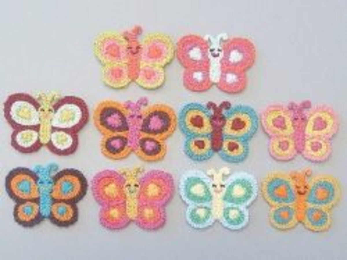 Crocheted Butterfly Appliques