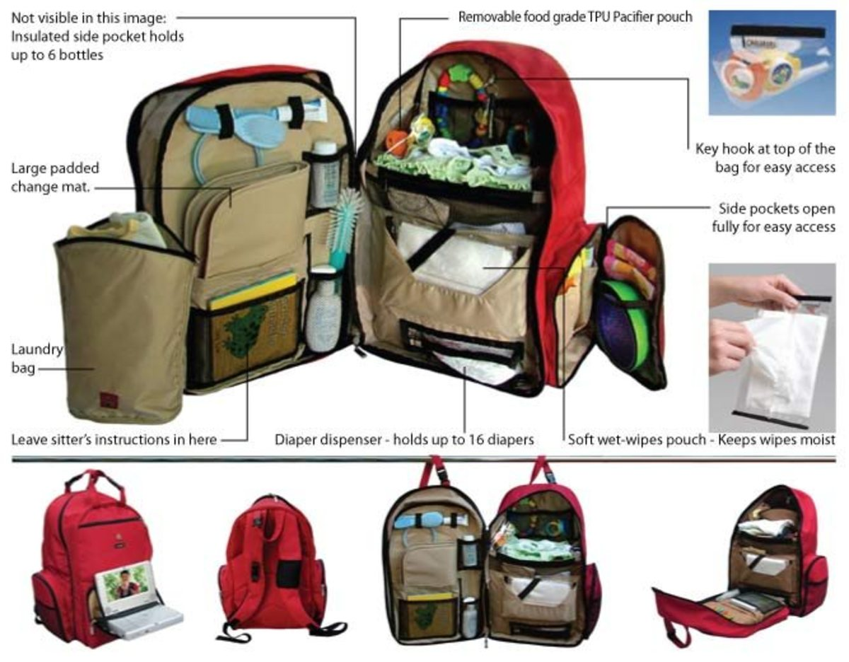 Okkatots Travel Baby Depot Bag / Travel Diaper Backpack in Cranberry Red (showing all the features)