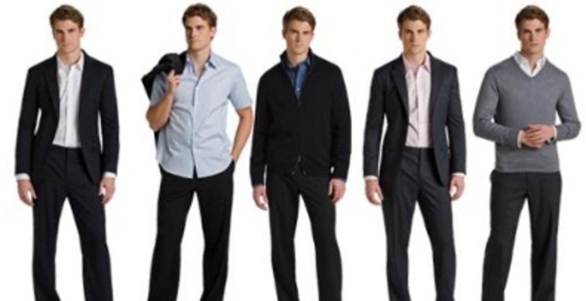 Business dinner meeting attire for men.