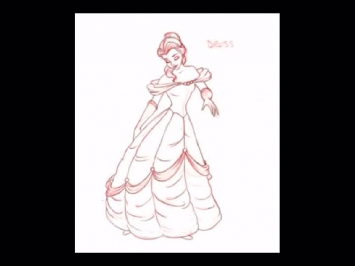 A design sketch of the dress.  This shows the darker gold sash around the skirt as starting about in the middle of the dress, and gradually scalloping down to maybe 2 feet from the bottom.  This sketch is also the only glimpse you'll get of Belle's s