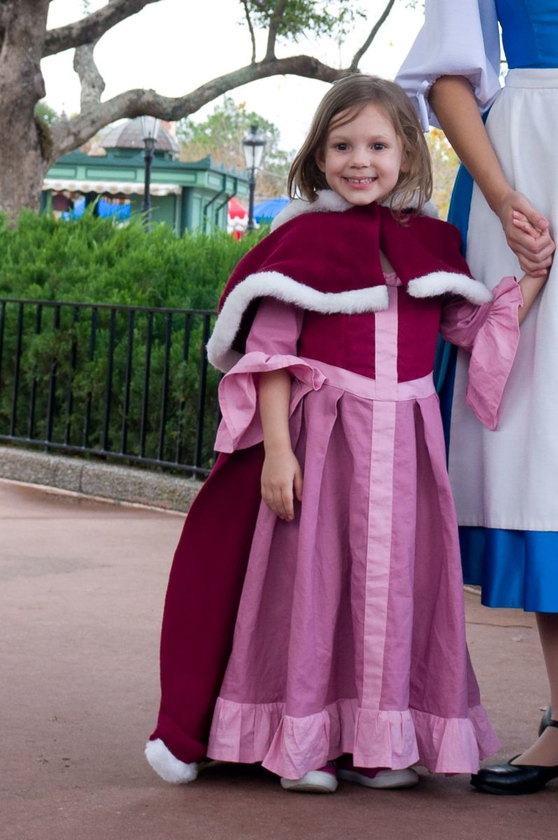 "Disney Belle was very excited to meet ""mini-Belle"", all dressed for winter. Seeing Disney cast members' reactions to these unique costumes is the biggest driving force to keep making them again and again."