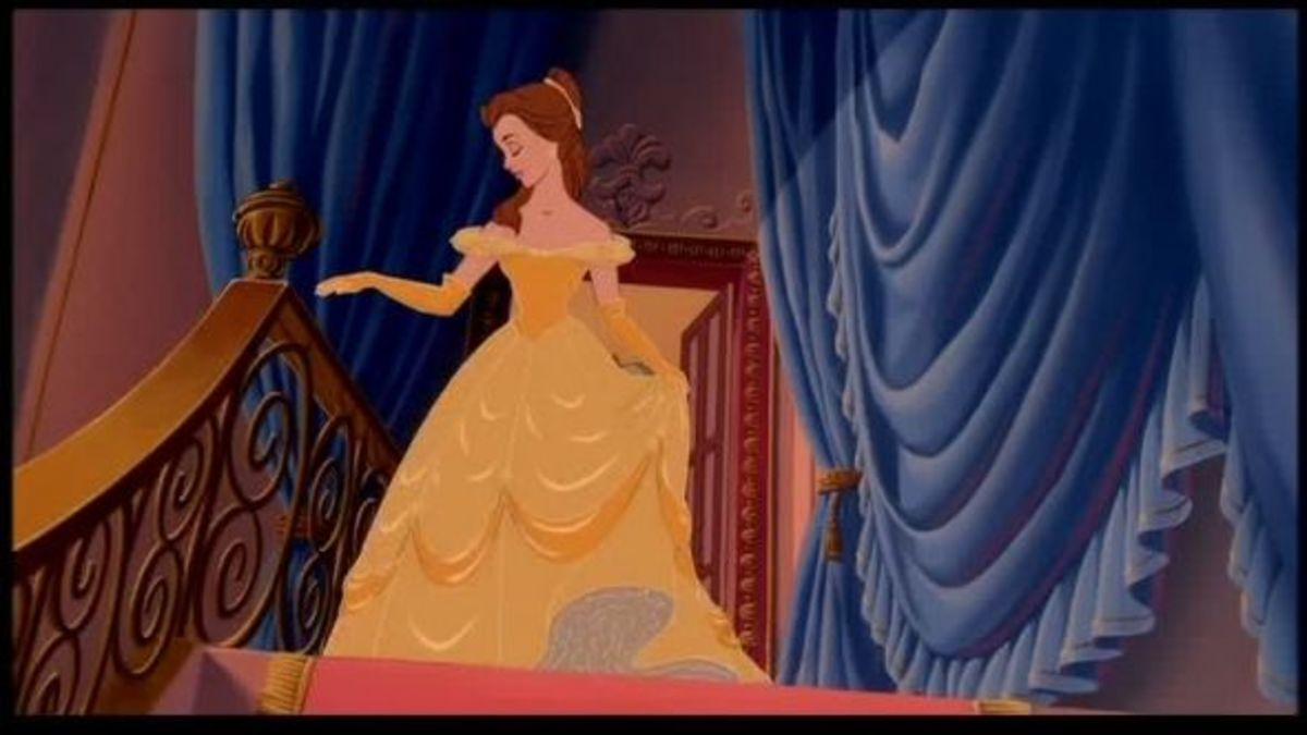 Belle's stunning yellow ball gown is iconic of the princess.  A fitted bodice, off-the-shoulder sleeves, a full elegant skirt, and golden yellow gloves to match.  Of all the princess gowns, this really has to be the best.