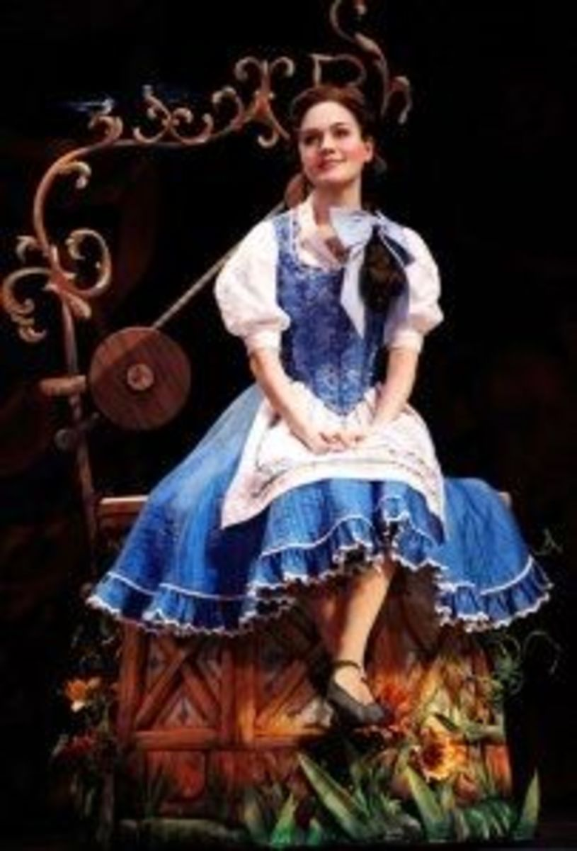 Costume from Broadway shows many changes from the movie version.  They shortened Belle's sleeves to end just above the elbow, changed the fabric and added many details, including a ruffle on the bottom of Belle's skirt.