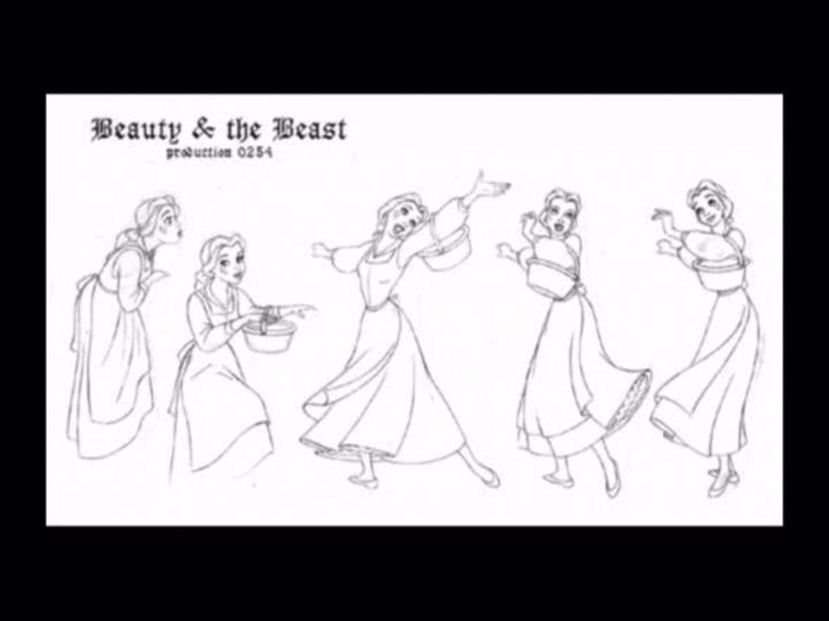 A design sketch of Belle's blue dress.