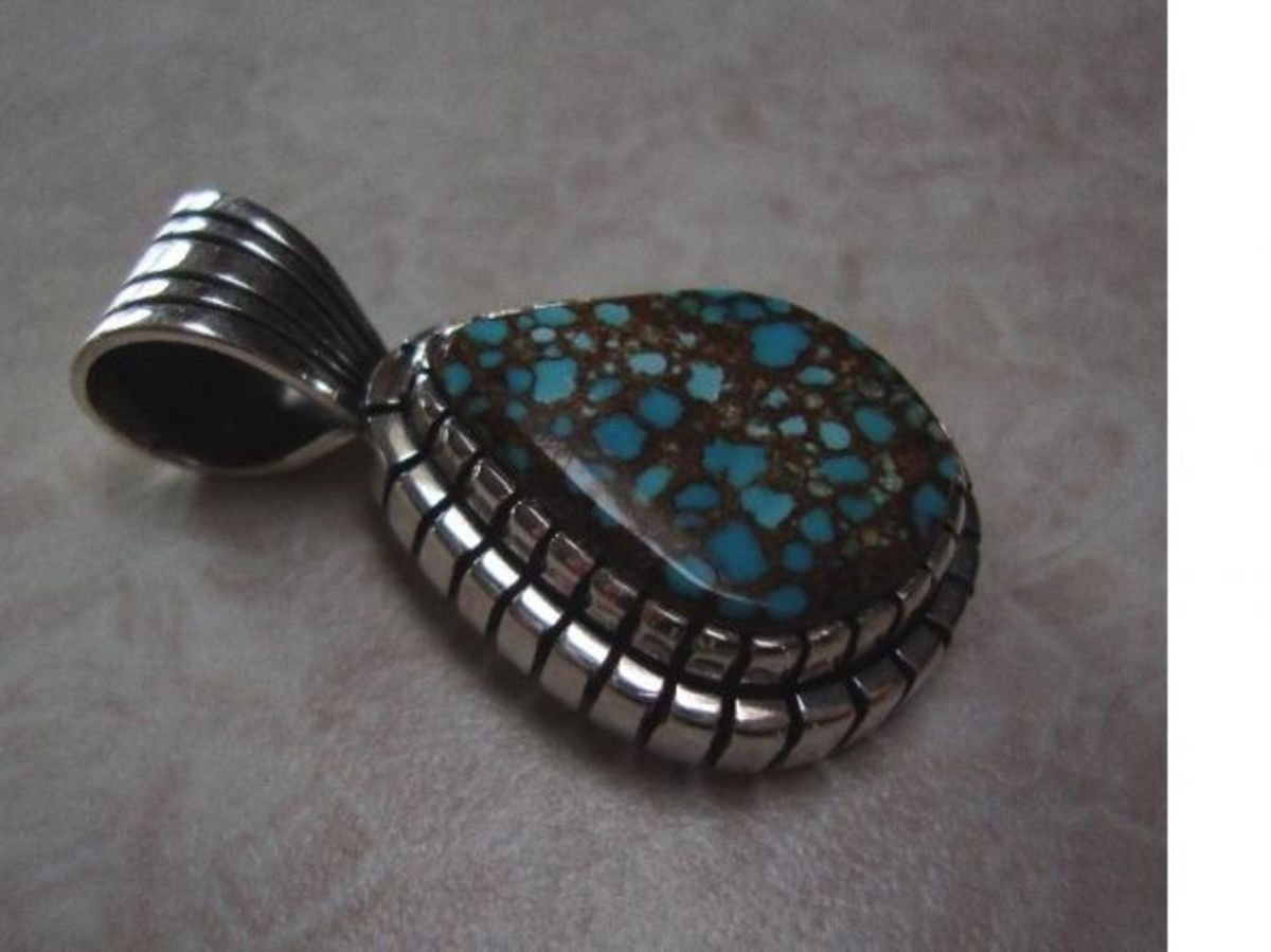 Number 8 Turquoise in Contemporary Sterling Silver Pendant