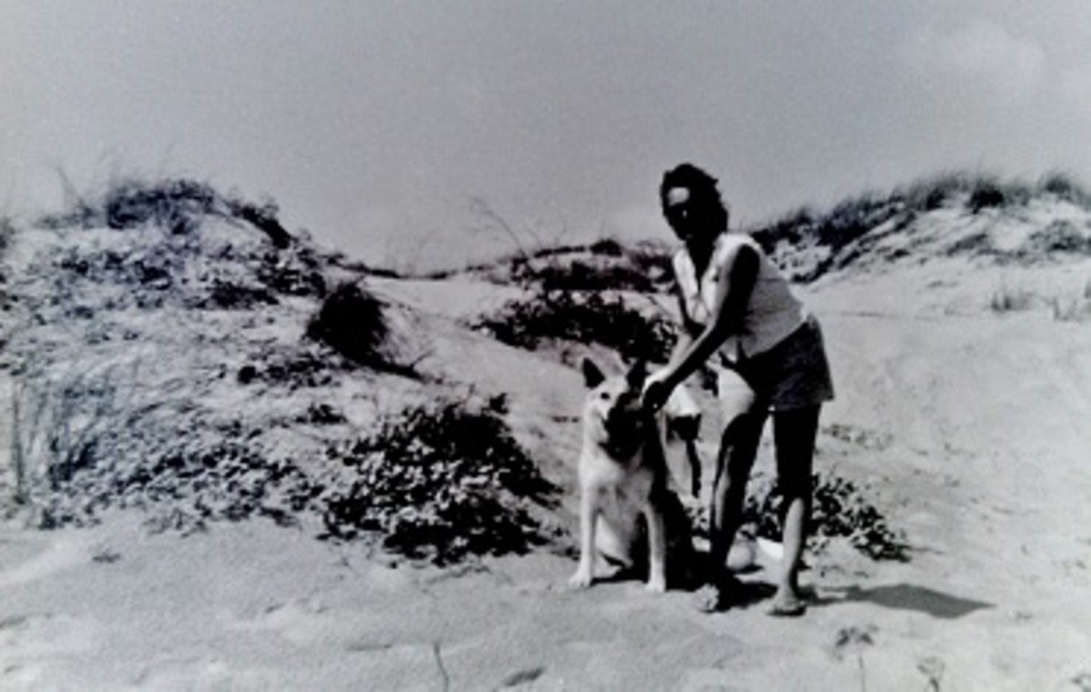 My mother and Sheba in the sand dunes