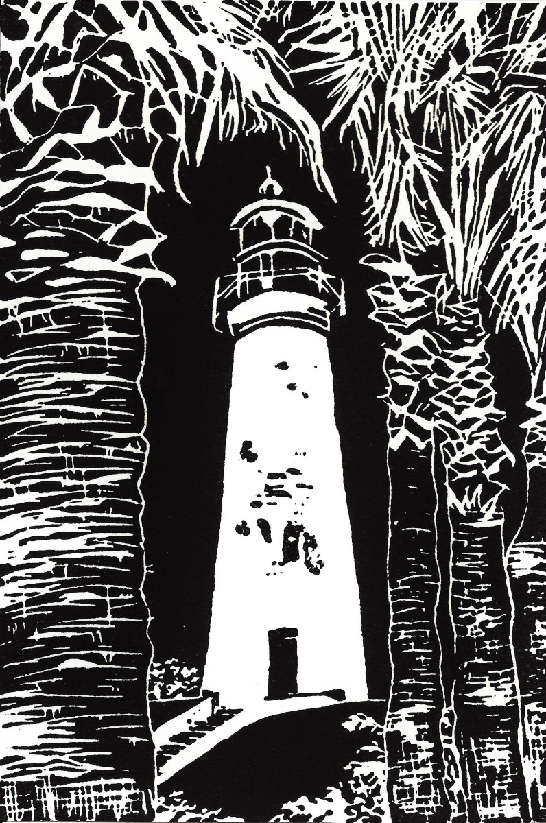 Original limited edition linocut that I created of the Port Isabel Lighthouse