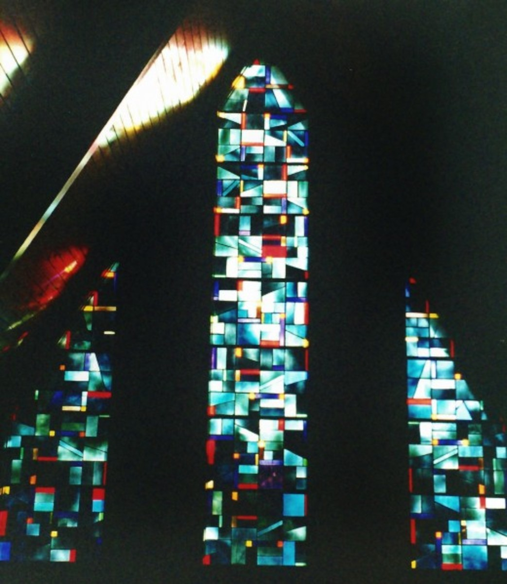 Stained glass windows inside of Lake Murray Chapel