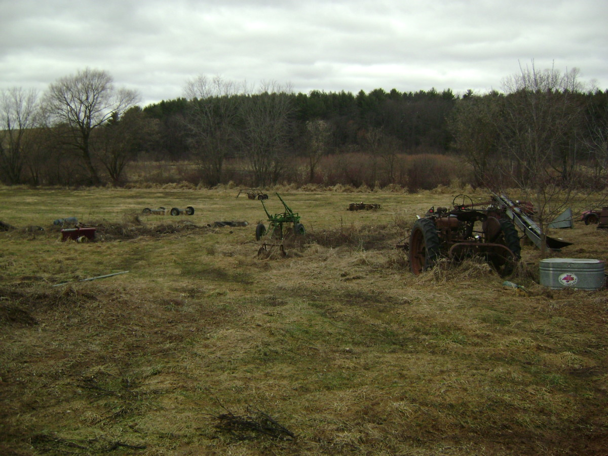 Farm land, old machinery, creek, and woods in the background