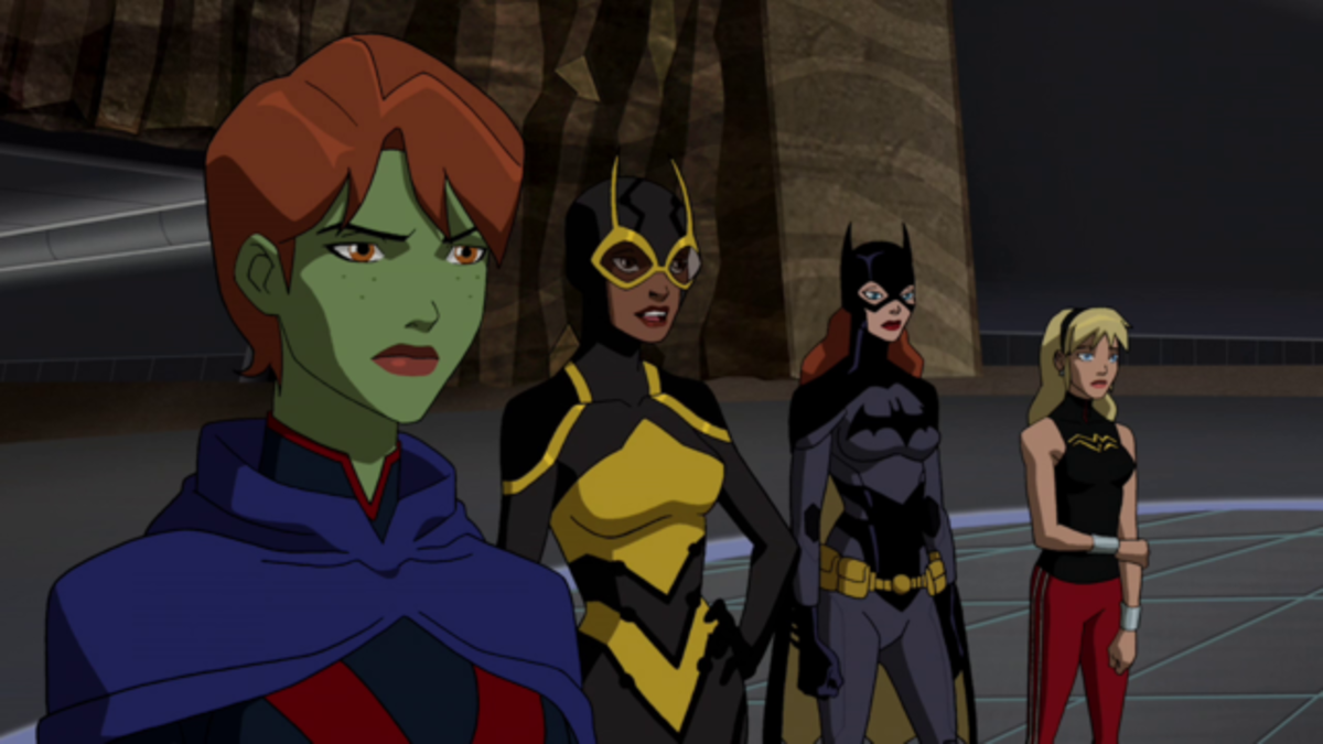 Ms Martian, Bumble Bee, Batgirl and Wonder Girl