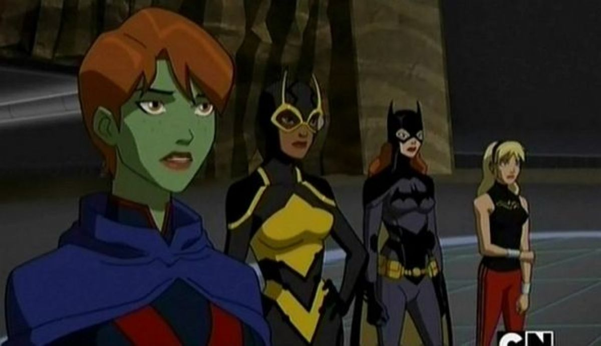 Young Justice-Miss Martian-Wonder Girl-Batgirl-Bumblebee