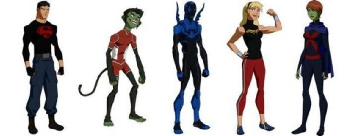 Superboy-Beast Boy-Blue Beetle-Wonder Girl-Miss Martian