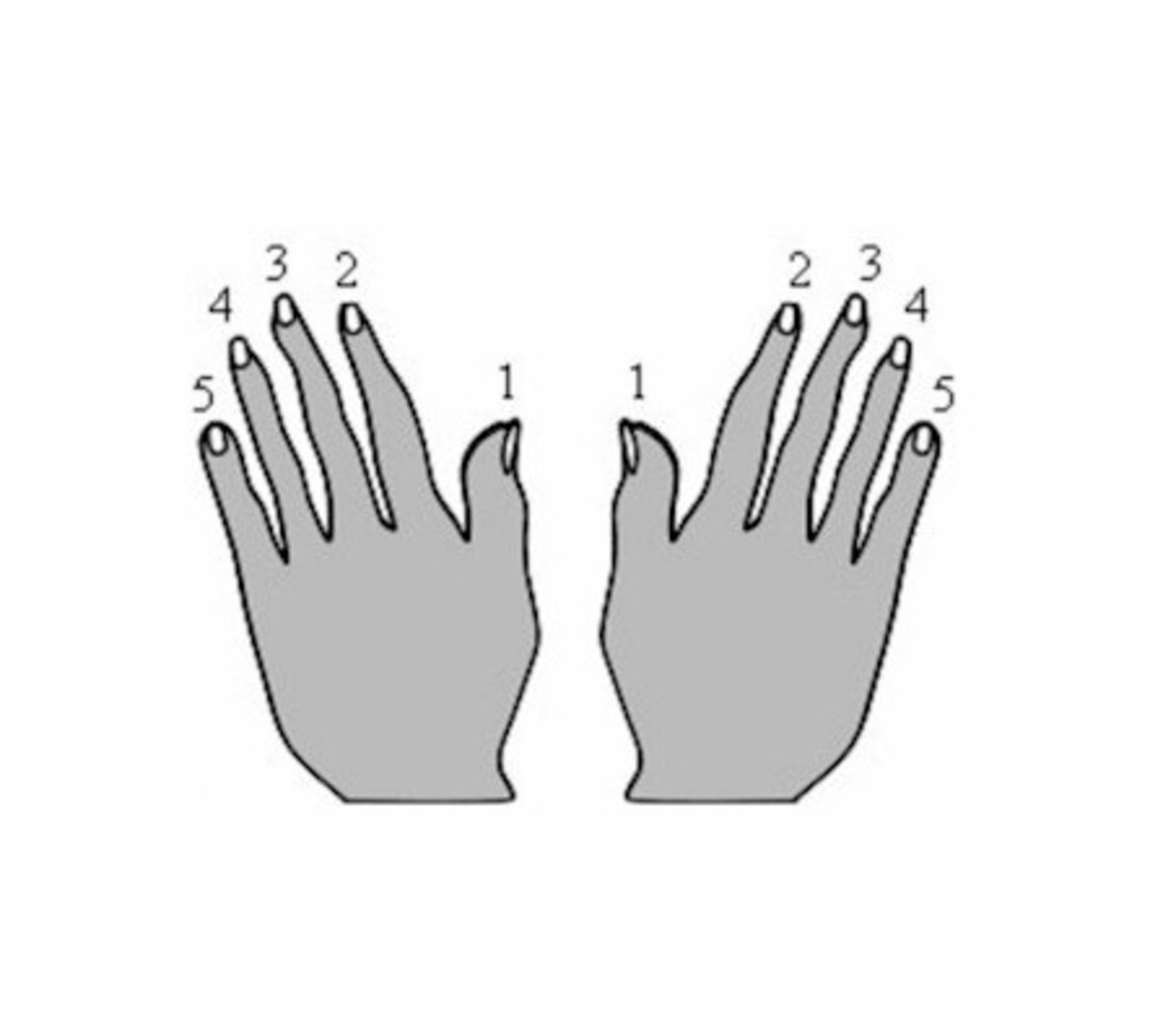 Each of your fingers corresponds to a number you can use to play the notes on your piano keyboard