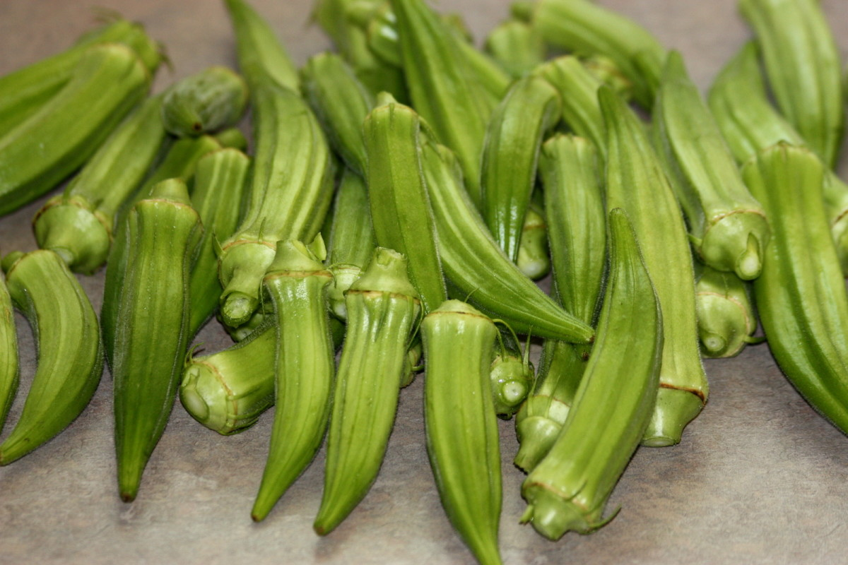 Freshly picked okra on kitchen cabinet.