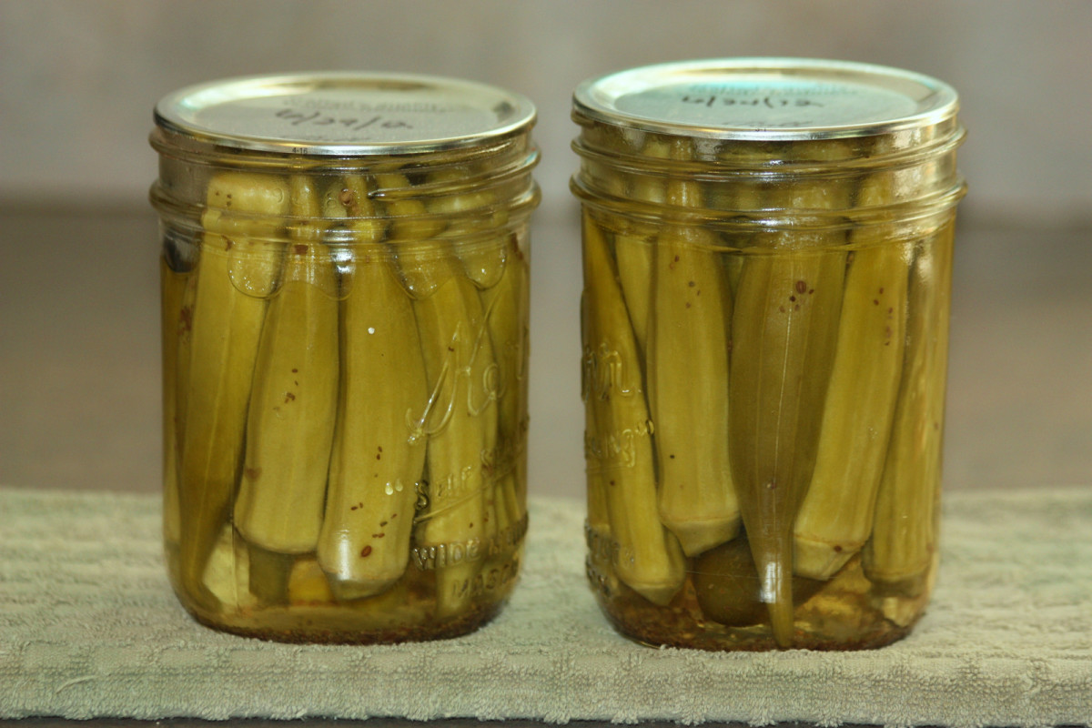 Two hot jars of pickled okra sitting on towel.