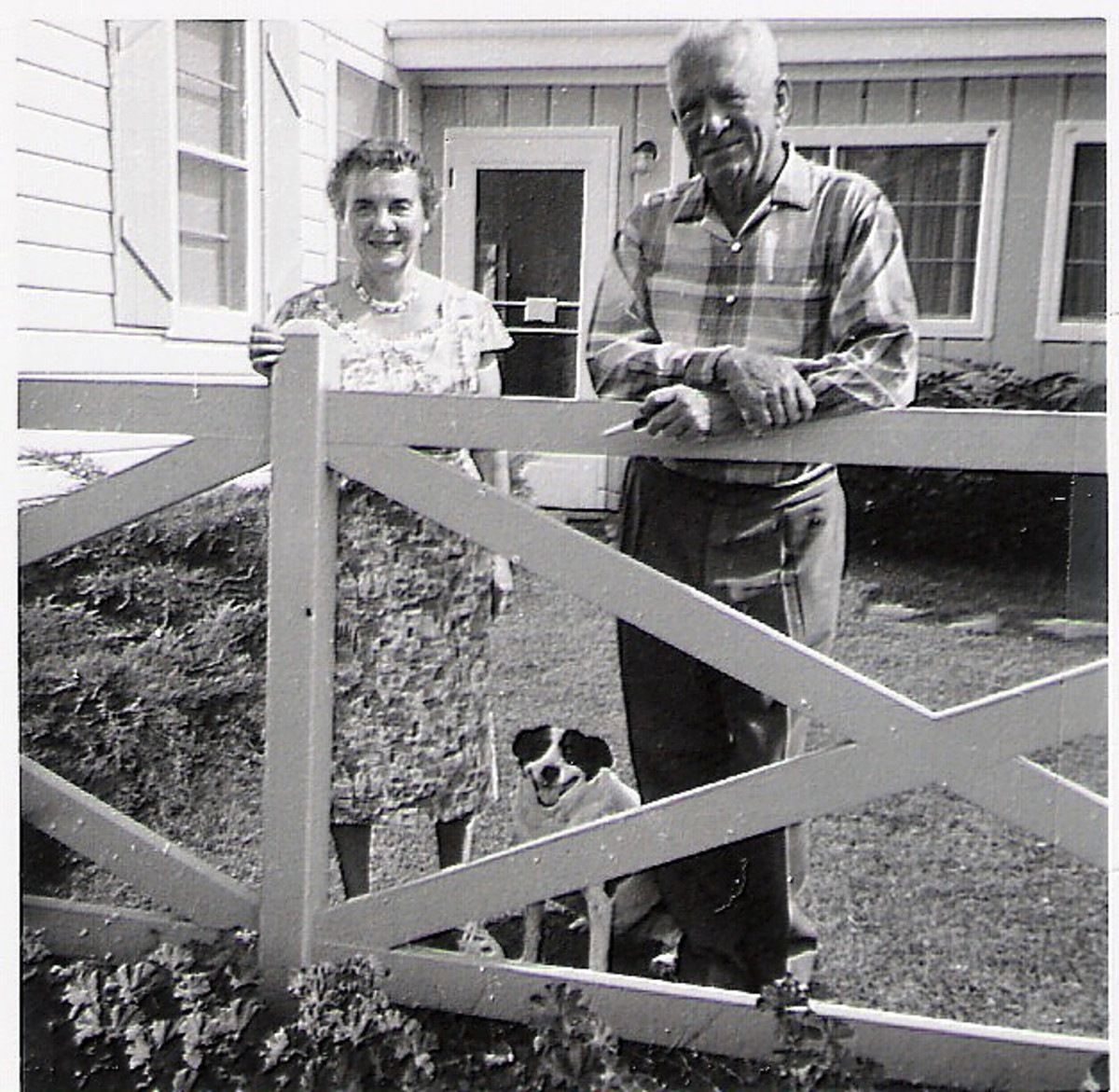 My grandparents who moved with us from Wisconsin to McAllen.  Here they are in Wisconsin.  I took this photo with my first Brownie camera.