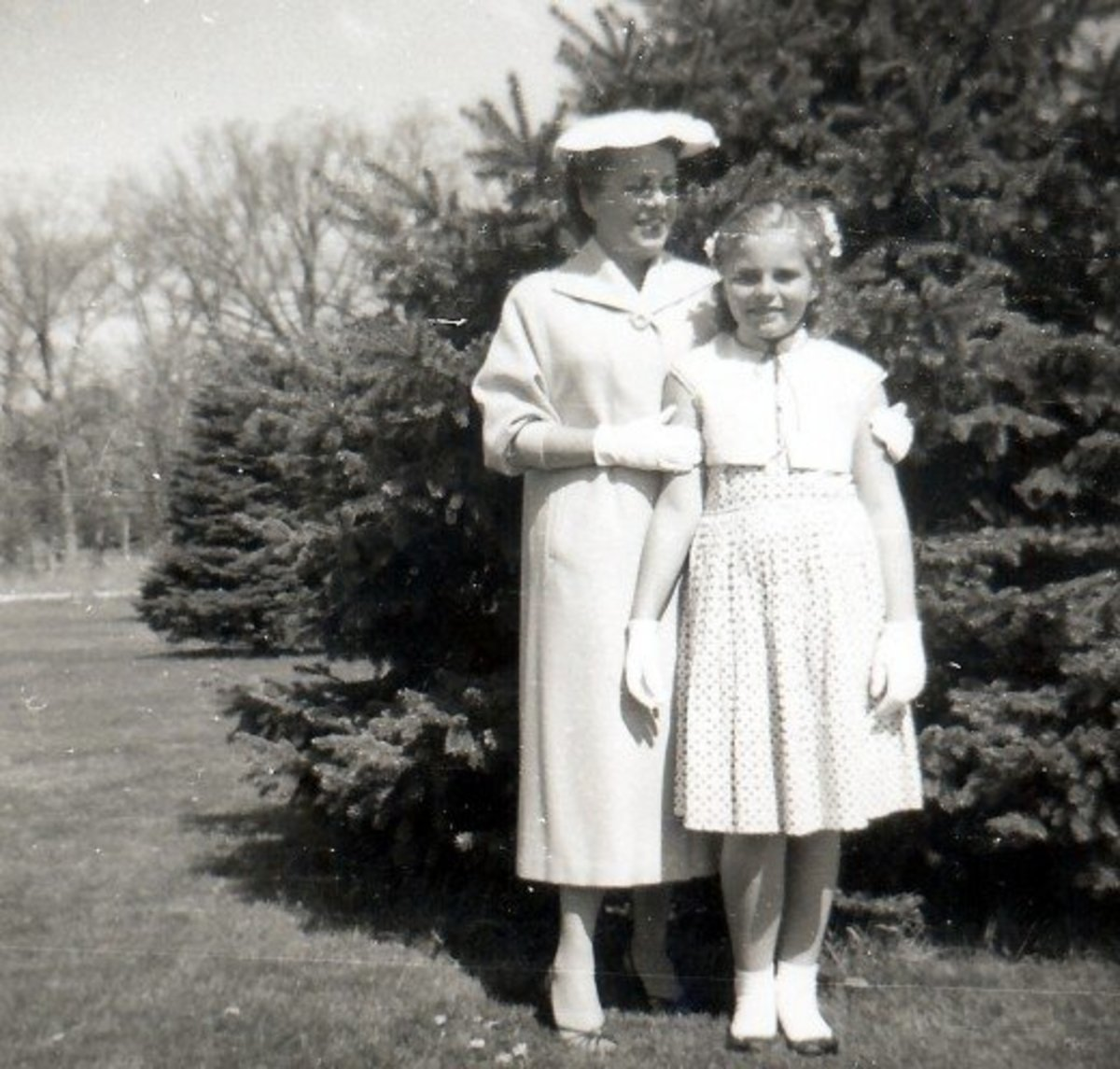 My mother and I in Wisconsin dressed for attending church in the 1950s
