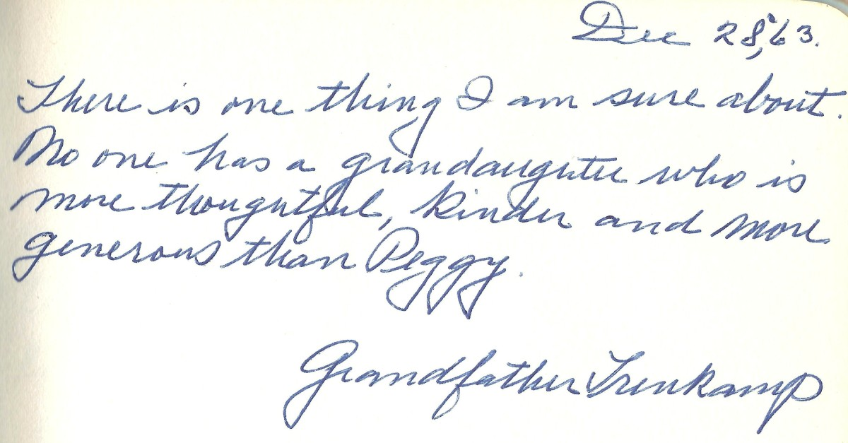 My grandfather's entry into my autograph book