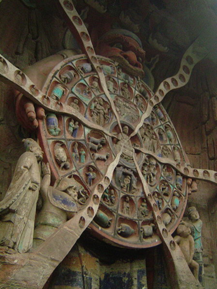 The Buddhist Wheel of Reincarnation at Dazu, China, representing a mixture of Taoist, Buddhist and Confucian beliefs.